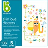 Baby Diapers, Size 5 (27 lbs+) 136 Count- Babyganics Ultra Absorbent, Unscented, Made without Chlorine, Latex
