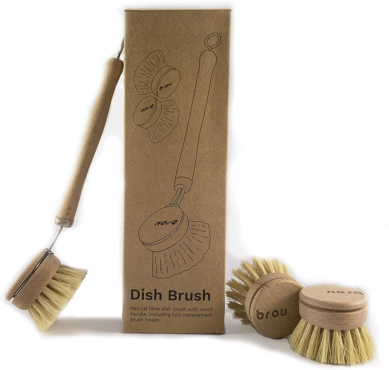 Wooden Dish Brush Washing Up Brush Traditional Wood Scrubbing Pot Strong Brush