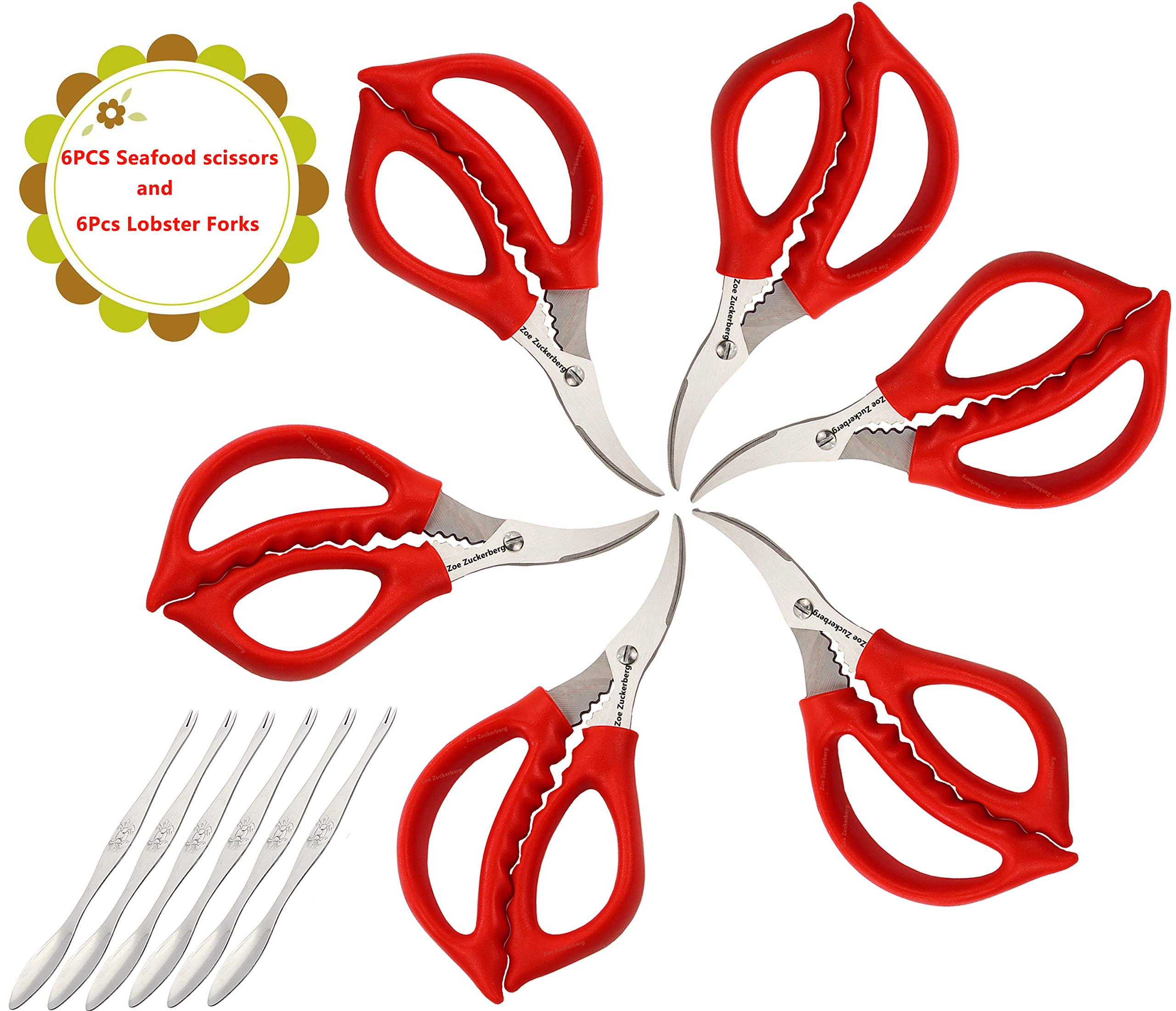 Seafood Scissors and Lobster Forks For Fish Crab Lobster Crab Lobster Scissors Set of 12 Pcs by Zoe Zuckerberg