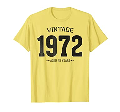 Mens Retro 45th Birthday T Shirt For Men And Women Born In 1972 2XL Lemon