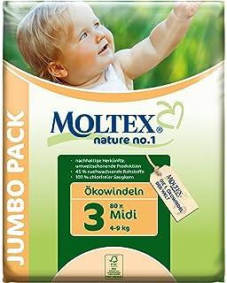 4 Packs of Moltex Nature No.1 Eco Nappies Size 4 Maxi Jumbo 296 Nappies 7-18 kg