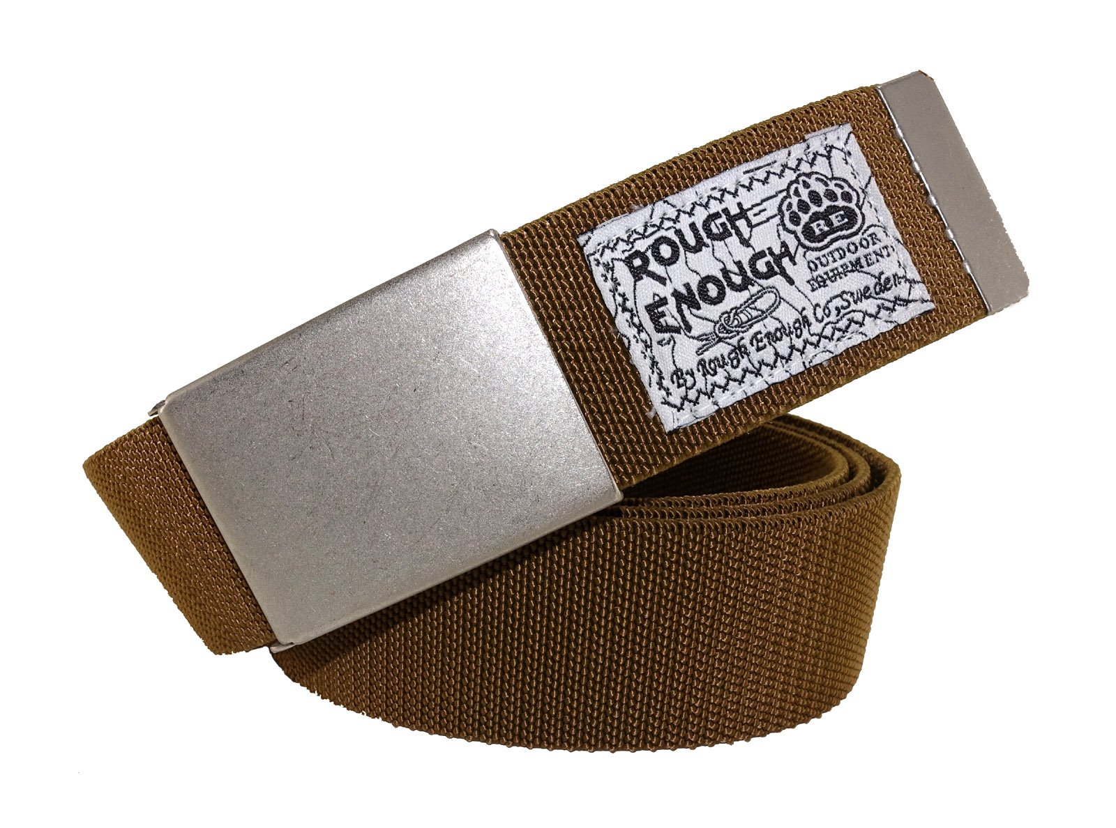 ROUGH ENOUGH Heavy Duty Elastic Nylon Reinforced Military Style Tactical Web Belt Strap with Flip Top Antique Silver Metal Buckle for Teens Men Casual Khaki Brown