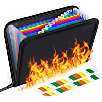 Fireproof File Folder Letter Size/Waterproof Important Papers Organizer,13 Pockets A4 Fire Proof Water Resistant…