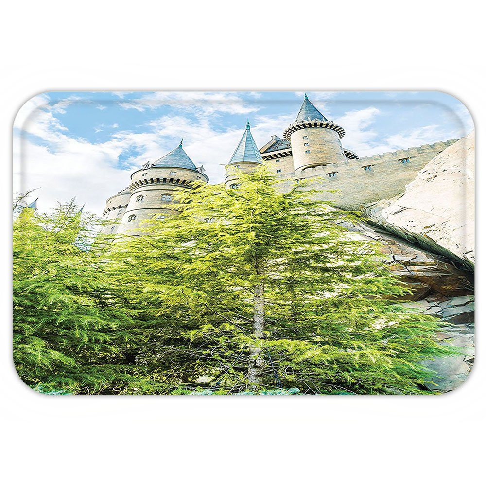 VROSELV Custom Door MatWizard School of Witchcraft and Castle in Woodand RockSky View Replica in Japan Picture Decor Green Blue and Beige