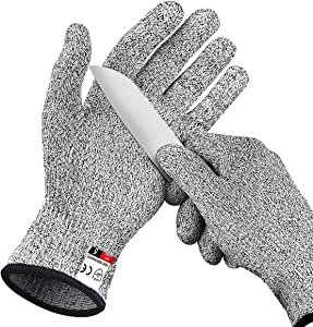 DEYAN Cut Resistant Gloves - Level 5 Protection, Multi Purpose Food Grade Kitchen Cutting Gloves, Safety Working Gloves for Men and Women, Used for Slicing, Fishing, Shucking, Carving, 1 Pair (Small)