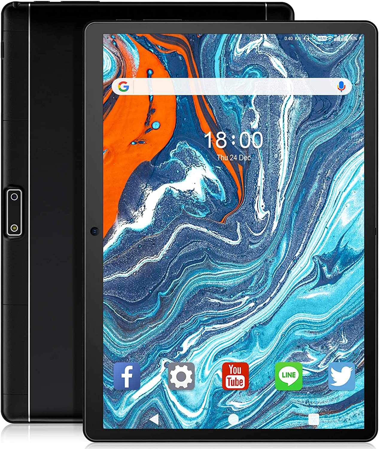 Tablet 10 inch Android Tablet, Quad-Core Processor 32GB Storage, Dual Sim Card, WiFi, Bluetooth, GPS, 128GB Expand Support, IPS Full HD Display (Black)