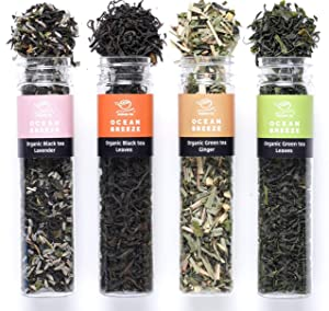 Organic Loose Leaf Green Tea Sampler - USDA & GFSI (Global Food Safety Initiative) - Authentic South Korean Tea - 4 Piece (Green/Black/Lavender/Ginger) Korean Food Vegan Tea Assortment (1.84oz / 52g)