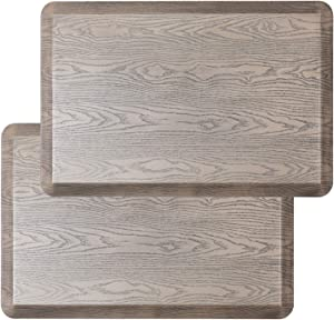 2Pcs Extra Support Anti Fatigue Floor Mats - Non-Slip Standing Desk Mat - Comfort Cushioned Kitchen Mat, Waterproof, for Offices, Home, Garages - Relieves Pain (Beige Wood Grain, 20x30x3/4-Inch)