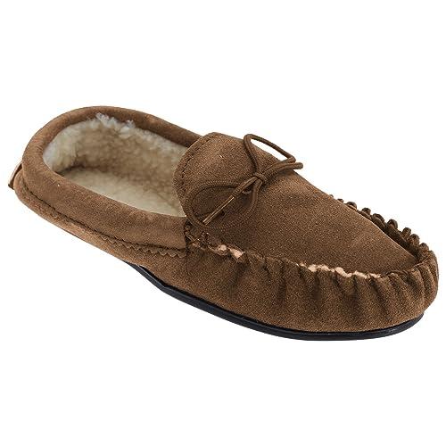 uomo - Donna fattura inglese ORIGINALE mocassino in pelle Pantofole con PVC