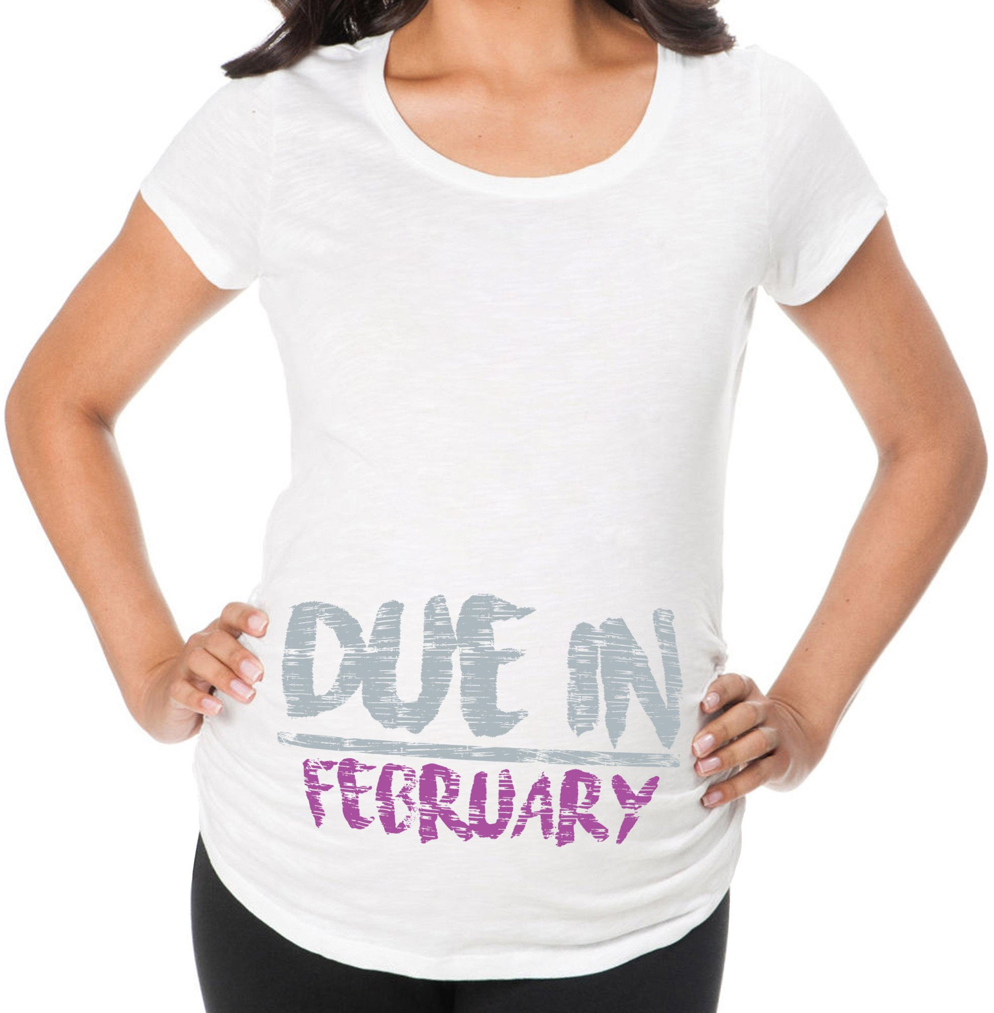 Awkward Styles Due in February Pregnancy Announcement Maternity T Shirt Expecting Mom Winter White L