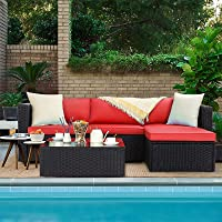 VITESSE 5 Pieces Patio Furniture Sectional Sets,Outdoor All-Weather PE Rattan Wicker Lawn Conversation Sets,Garden Sofa Set with Coffee Table and Washable Couch Cushions (Red)