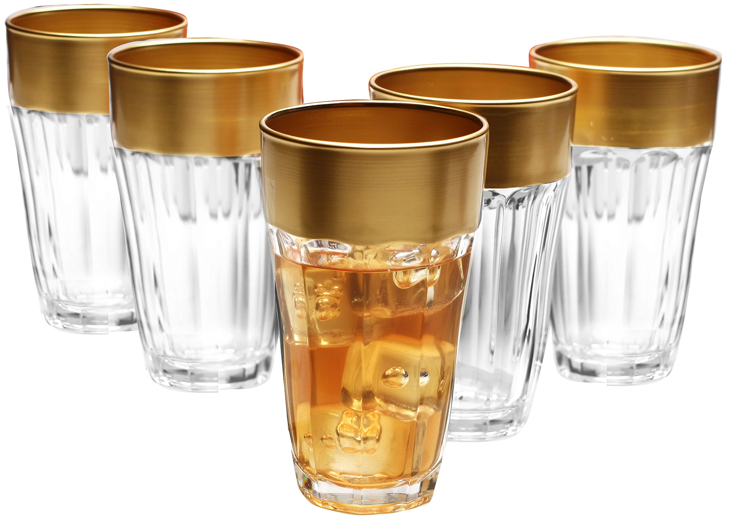 Circleware De'ore Gold Rimmed Drinking Glasses, 12 Ounce, Set of 6