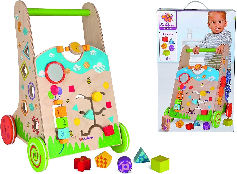 Eichhorn 100002253 – Carrito de juguete y andador, 6 piezas, juego de clasificación, juego giratorio, juego de encajar y 5 piezas de 33,5 x 32 x 51 cm, madera de abedul