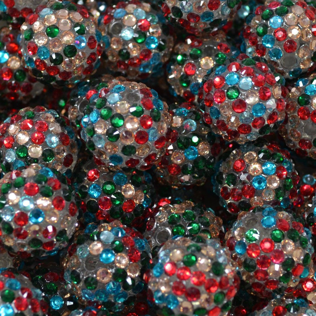 """Custom & Fancy {20mm} Approx 20 Pieces of Round """"Table"""" Party Confetti Made of Acrylic Resin w/ Christmas Holiday Sparkling Rhinestone Vase Filler Scatter Design [Red, Green, Silver & Blue]"""