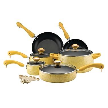 Paula Deen Signature Collection Porcelain Nonstick 15-Piece Pots and Pans Cookware Set, Butter Speckle