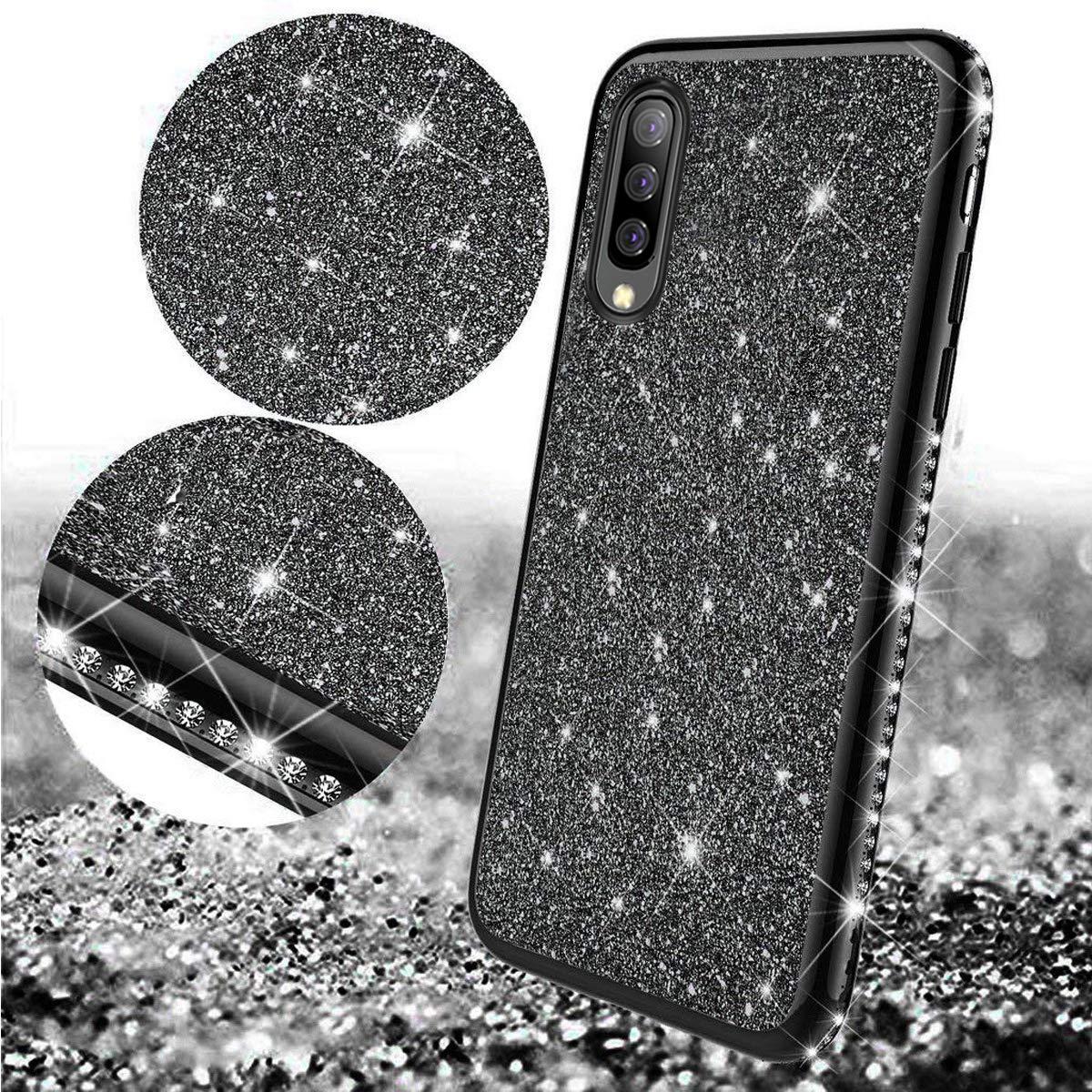 Surakey Cover Compatibile con Samsung Galaxy A70 Custodia Silicone Glitter Bling Paillettes Case Brillantini Diamante con TPU Bumper Ultra Slim Anti-Scratch Custodia per Samsung Galaxy A70,Oro Rosa