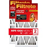 Filtrete 16x25x4 Nominal Size 15.88x24.56x4.31, AC Furnace Air Filter, MPR 1000 DP, Micro Allergen Defense Deep Pleat, 2-Pack