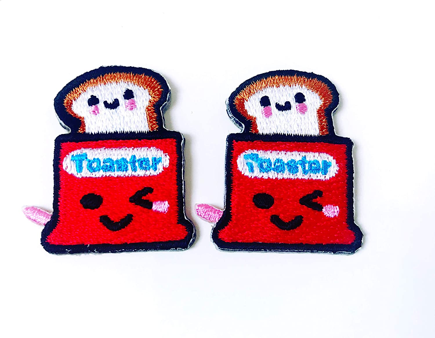 Set 2 pcs. Mini Red Toaster Bread Cute Cartoon Jacket T-Shirt Sew Iron on Embroidered Applique Badge Sign Patch