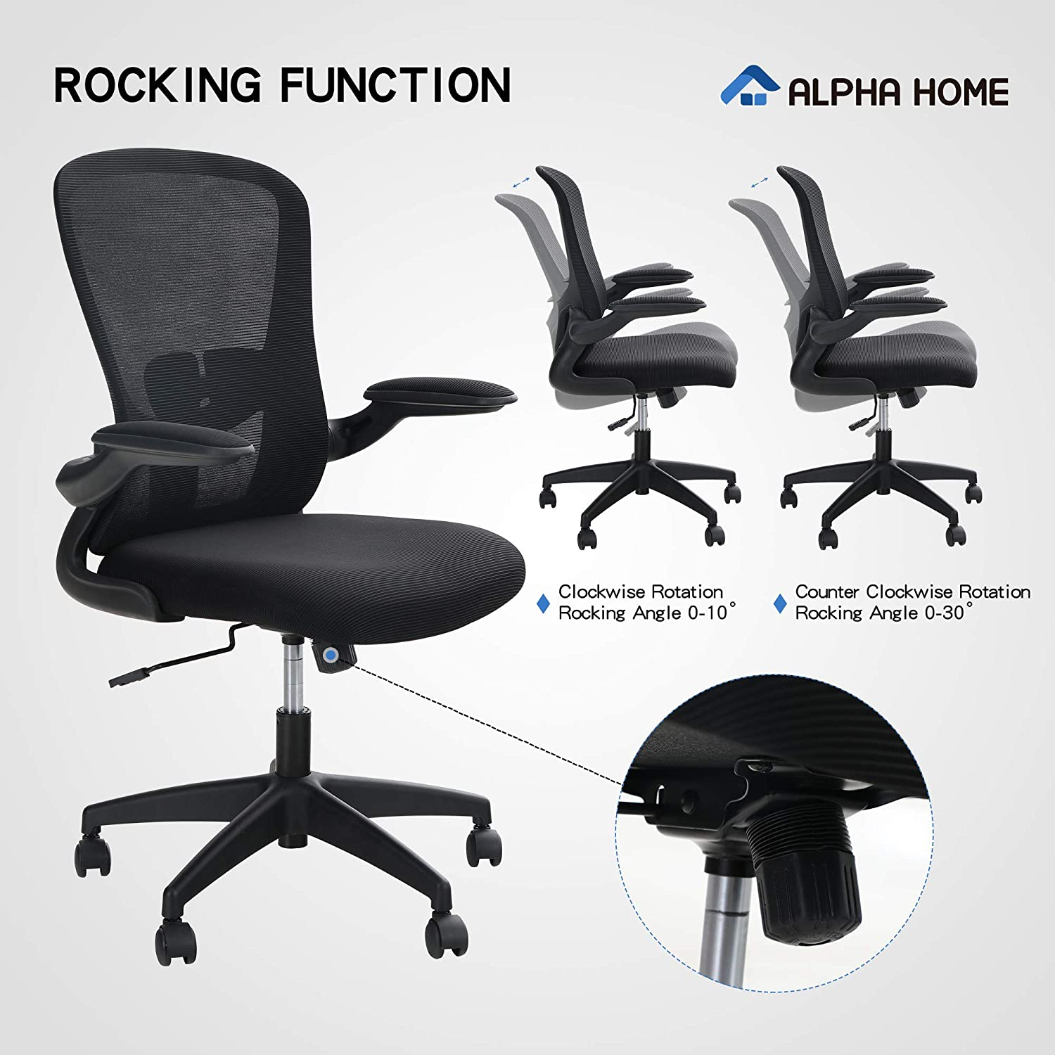 ALPHA HOME Ergonomic Office Chair Mid Back Computer Desk Chair with Flip-up Tufted Armrest Executive Adjustable Chair with Lumbar Support Mesh Rolling Swivel Chair with Casters-Capacity 350LBS