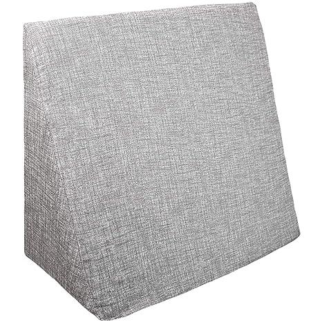 Innovaciones Roser Cojín Cuña | Almohada Lectura Lumbar | Almohada Terapéutica. Cojin Sofá y para Cama, Color Liso Estampado Gris, Medida 60x20x40cm