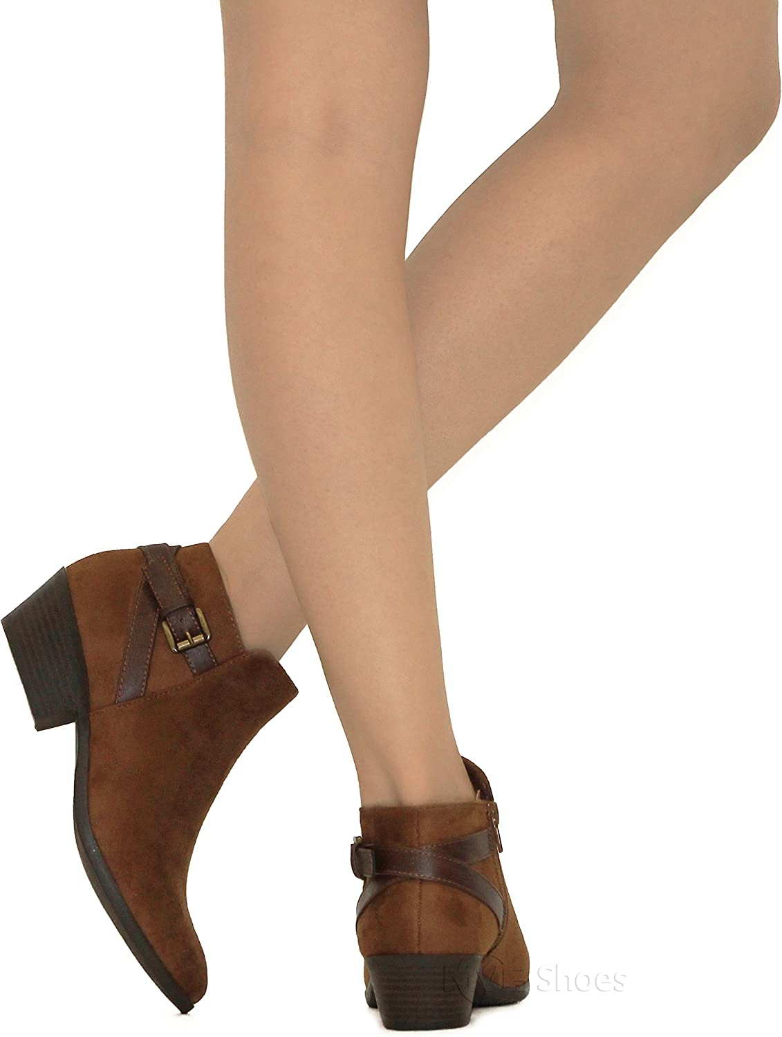 MVE Shoes Womens Ankle Bootie Strappy with Low Chunky Heel