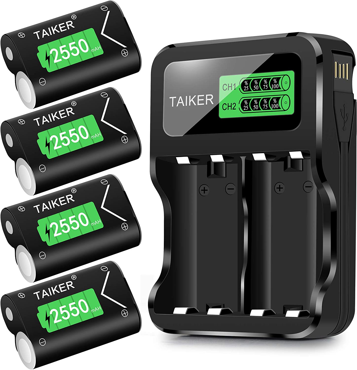 TAIKER Compatible with Xbox One Battery 4 Pack x 2550mAh Rechargeable Controller Battery and Charger for Xbox One/Xbox One S/Xbox One X/Xbox One Elite Wireless Controller