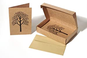 All Occasion Note Cards with Envelopes – Stationary Box Set of 20 Blank Kraft Paper Card Pack – 4 X 6 Recycled Cardstock Notecards with Natural Tree Design