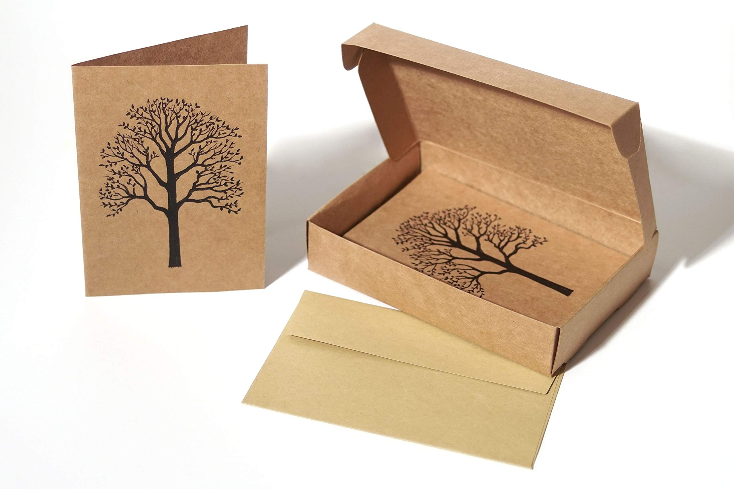 All Occasion Note Cards with Envelopes - Stationary Box Set of 20 Blank Kraft Paper Card Pack - 4 X 6 Recycled Cardstock Notecards with Natural Tree Design