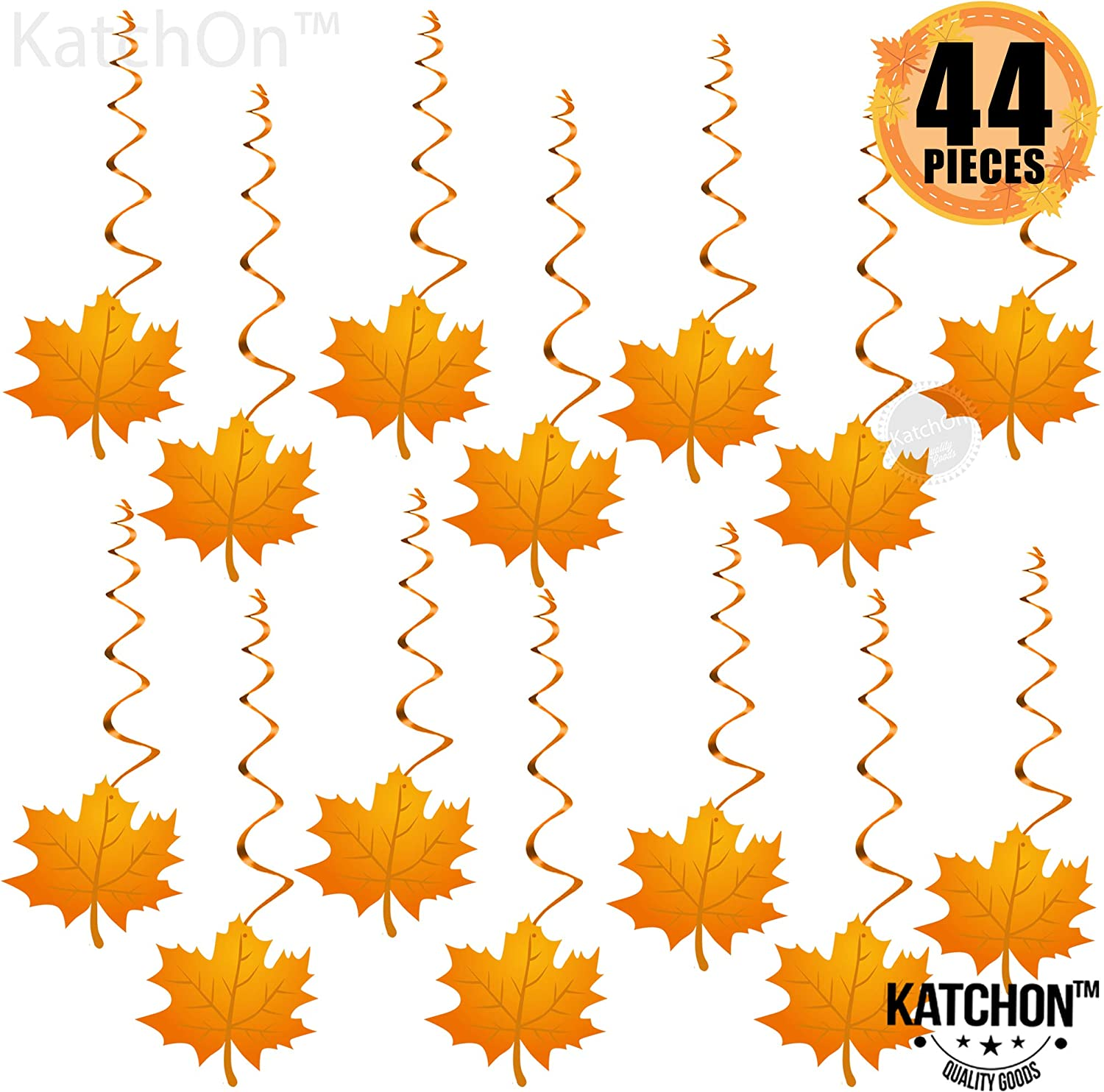 Hanging Swirls for Thanksgiving Decorations – Pack of 30, Maple Leaf Fall Themed Decorations Supplies | No DIY Required | Thanksgiving Ceiling Decorations | Fall Autumn Décor | Decor for Home Office