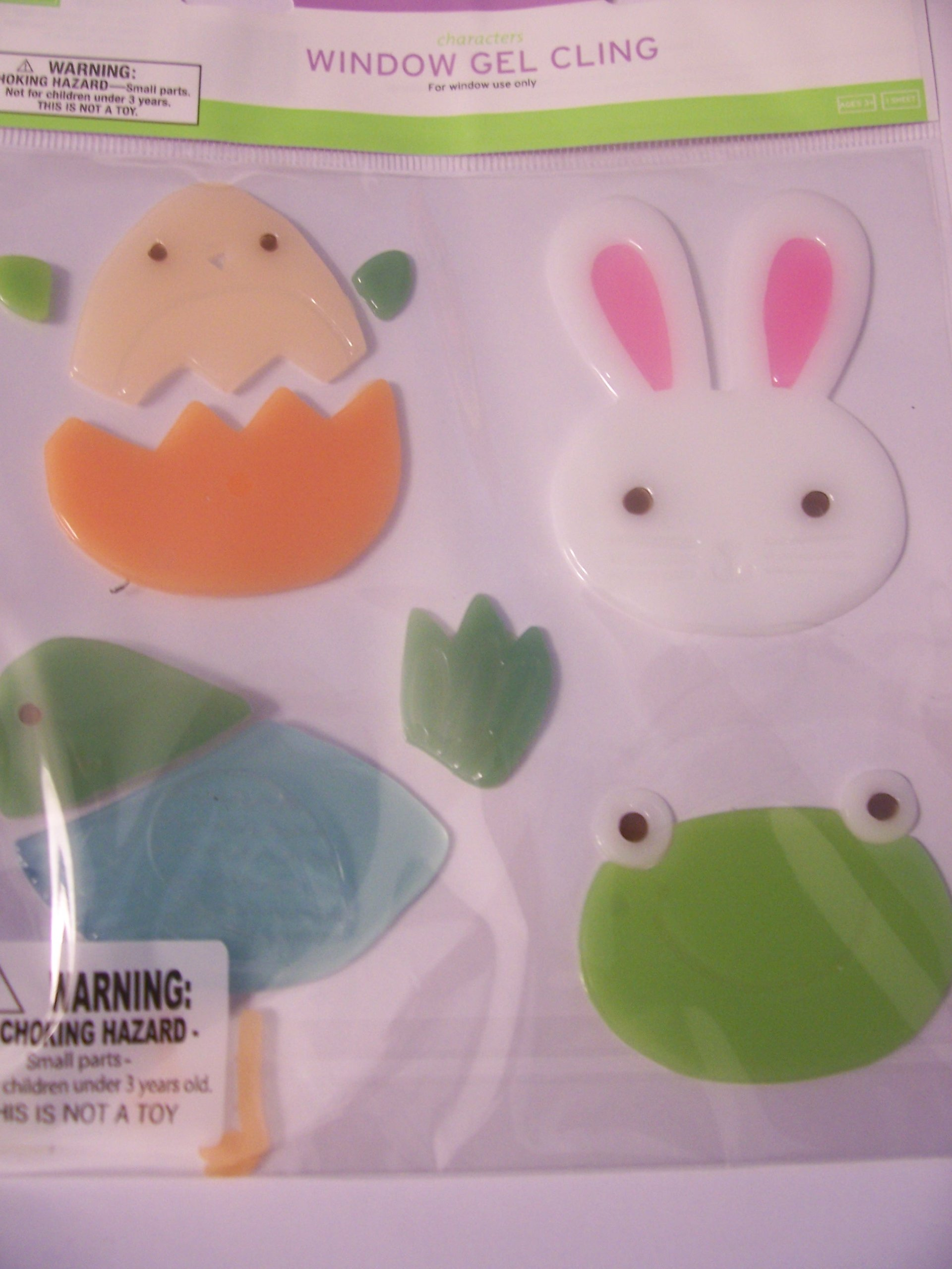 Easter Window Gel Clings ~ Set of 4 Animals (Bunny, Bird, Frog, Hatching Chick)