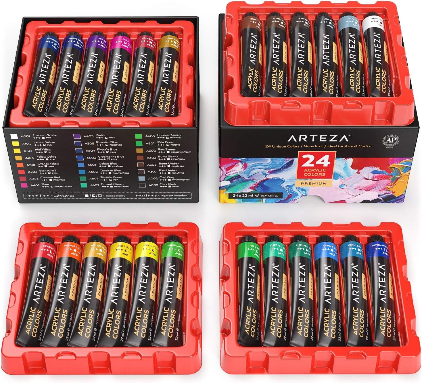 ARTEZA Pintura acrílica, juego de 24 colores/tubos (22 ml) con caja de almacenamiento, pigmentos ricos, no se decoloran, pinturas no tóxicas para artistas, pintores y niños