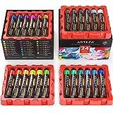 Arteza Acrylic Paint, Set of 24 Colors/Tubes (22 ml/0.74 oz) with Storage Box, Rich Pigments, Non Fading, Non Toxic Paints fo