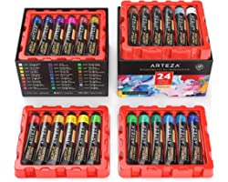 Acrylic Paint, Arteza Set of 24 Colors/Tubes (0.74 oz, 22 ml) with Storage Box, Rich Pigments, Non Fading, Non Toxic Paints f