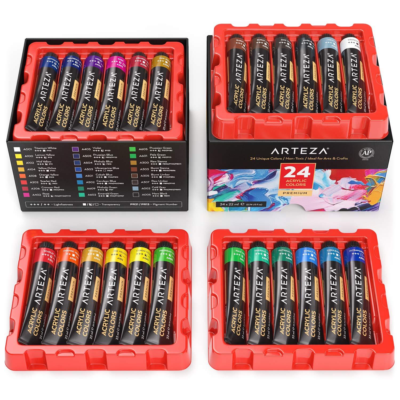 Arteza Farby akrylowe, zestaw z 24 tubkami