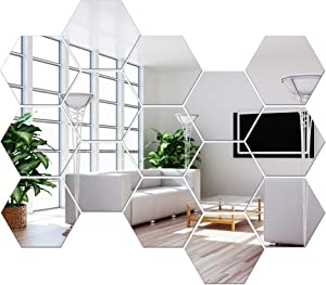 NL Sky Removable Large Size Acrylic Hexagon Mirror Wall Sticker,Self-Adhesive Tiles, 3D Hexagonal, Non-Glass, for Home Bedroom Living Room Decor (12 Pcs Sliver,6.88 x 6.02 x 3.54 inches)