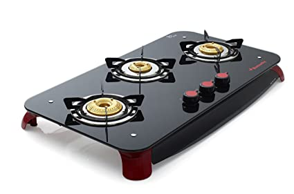 Butterfly Signature+ 3 Burner Glass Top Stove, Black/Red
