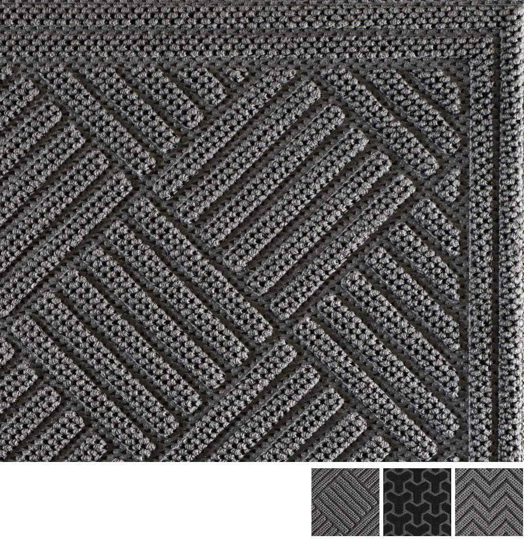 Volkom Heavy Duty Door Mat, Indoor Outdoor Durable Doormat, 35 x 23, Low-Profile, Waterproof Rubber Welcome Rug for Front Back Entrance, Patio Entry, Porch, Garage, Inside Outside Entryway