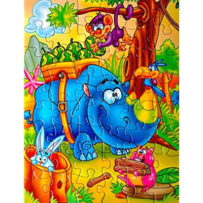 48 Piece Kids Jigsaw Puzzle with Beautiful Storage Box for Travel - Educational Fun for Children Ages 2-4 3-5 - Fun Cool Jungle Animal Cartoon Theme: Toys & Games