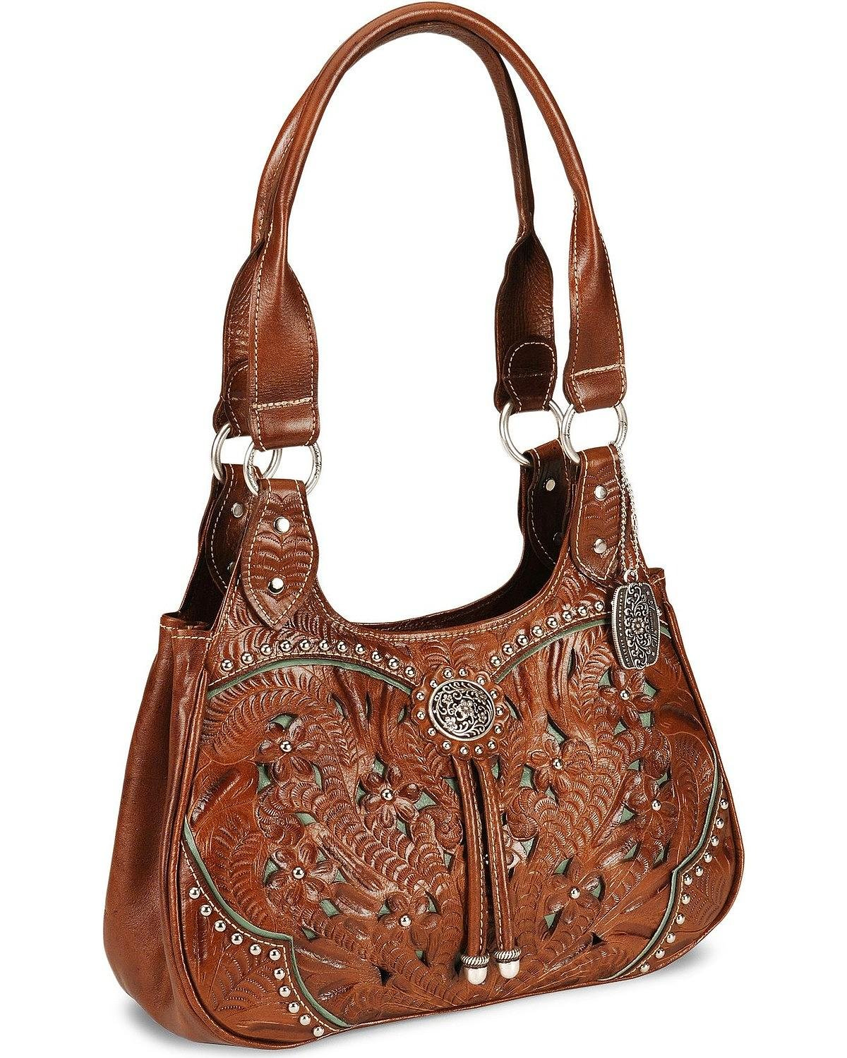 American West Lady Lace 3 Compartment Scoop Tote,Antique Brown/Turquoise,One Size