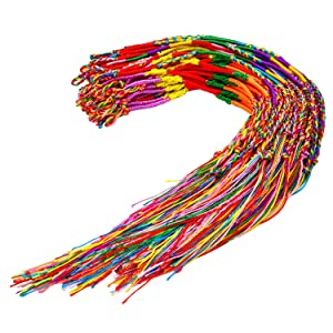 Resinta 60 Pieces Handmade Braided Bracelets Assorted Random Colors Friendship Cords Thread Bracelets Party Supply Favors for Wrist Anklet