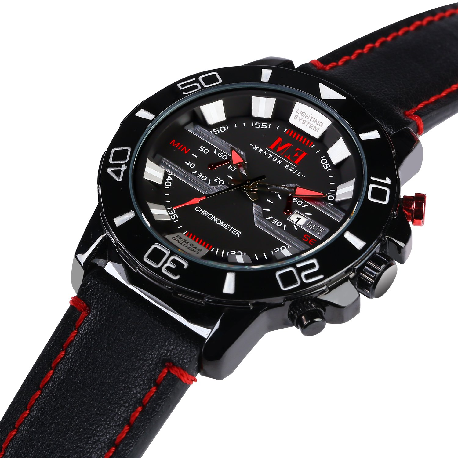 M.E Men's Classic Sport Analog Watch Leather Strap Quartz 30M Water Resistant Auto Calendar Black Wrist Watches (Black)