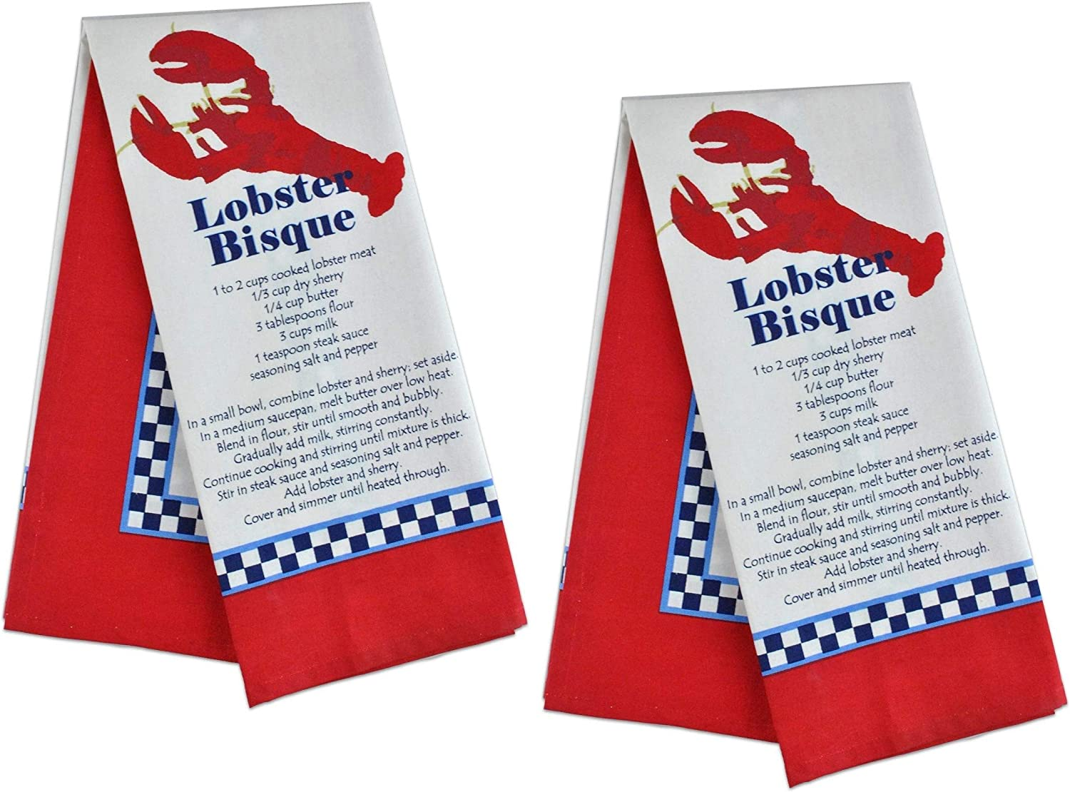DII Lobster Bisque Printed Kitchen Tea Towels, Set of 2 Lobster Bisque Recipe Dish Towels, Flat Weave 100% Cotton for Cooking, Baking, Dishes, Nautical Beach House Seashore Lobster Kitchen Decor
