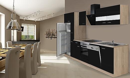 respekta Instalación de Cocina Cocina 310 cm Roble Negro ...