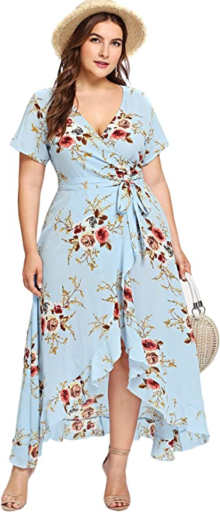 Milumia Plus Size Short Sleeves Wrap V Neck Belted Empire Waist Asymmetrical High Low Bohemian Party Maxi Dress Blue 0XL best women's spring dresses