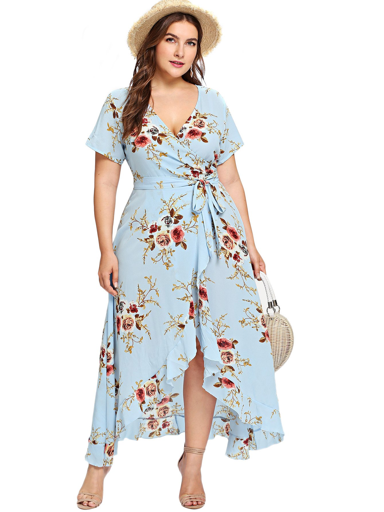 Milumia Plus Size Short Sleeves Wrap V Neck Belted Empire Waist Asymmetrical High Low Bohemian Party Maxi Dress Blue 3XL by Milumia