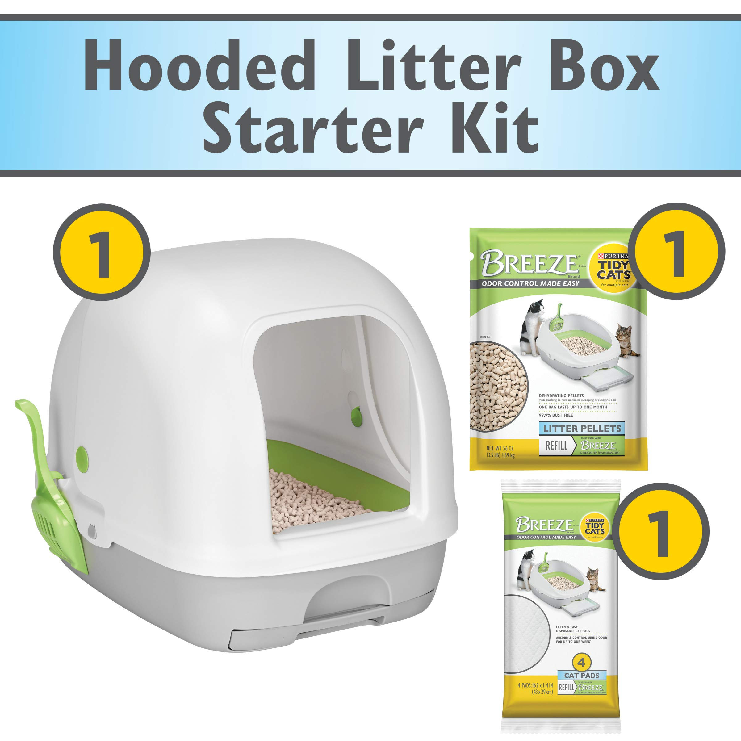 Purina Tidy Cats Hooded Litter Box System, BREEZE Hooded System Starter Kit Litter Box, Litter Pellets & Pads by Purina Tidy Cats