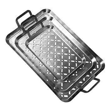 GRILL & MORE Essentials - Set de 3 bandejas para Barbacoa en Acero Inoxidable (3