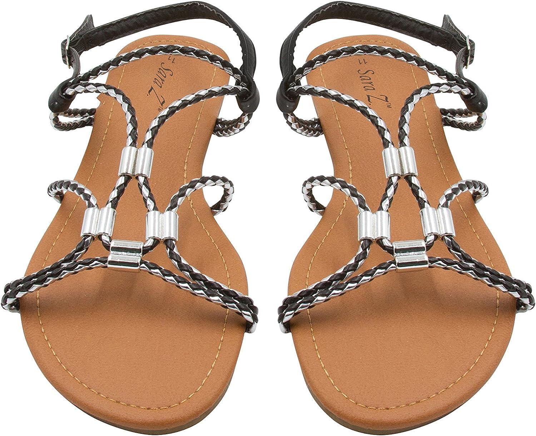 Sara Z Girls Vegan Thong Sandal with Bow and Rhinestone Embellishment
