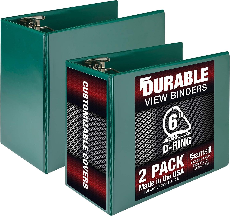 Samsill Durable 6 Inch Binder Green D Ring Binder, Customizable Clear View Binder, Bulk Binder 2 Pack, Green (MP26424)