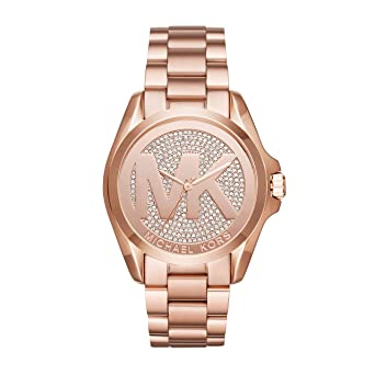 02dadb1637c1 Image Unavailable. Image not available for. Color  Michael Kors Rose Gold  Bradshaw Pave Crystal Logo Ladies MK6437